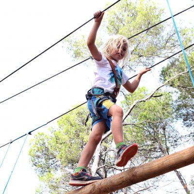 Boy in an adventure park